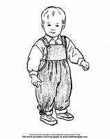 Colouring Coloring Sheets Boy Printable Overalls sketch template
