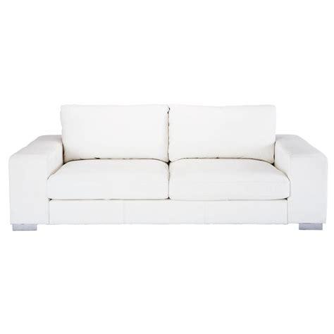 canapé 3 places cuir blanc canapé 3 4 places en cuir blanc york maisons du monde