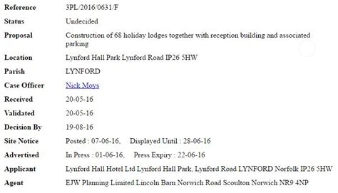 Lynford Hall Planning Application For 68 Lodges