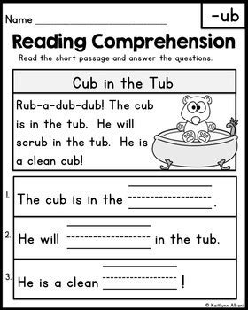 reading comprehension passages word families  kaitlynn