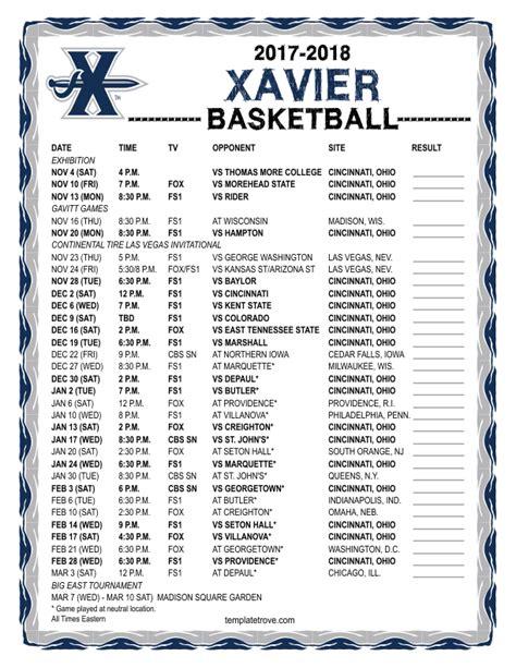 printable   xavier musketeers basketball schedule