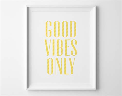 vibes only inspirational print motivational wall decor modern office yellow and