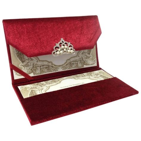 red couture velvet invitation  luxury pearl crystal