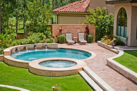 backyard designs with pool Pool Mediterranean with