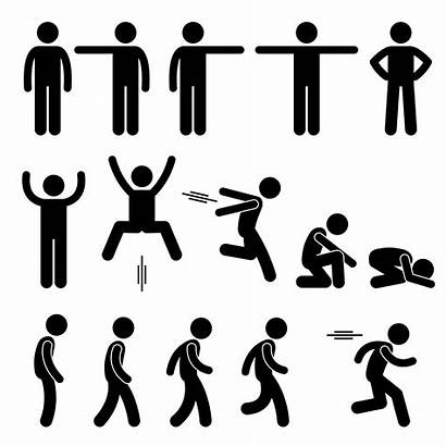 Stick Figure Action Human Poses Vector Pictogram