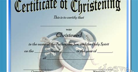 baby christening certificate template  baby boy