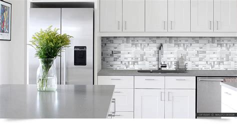 White And Grey Kitchen Backsplash : White Glass Metal Modern Backsplash Tile For Contemporary