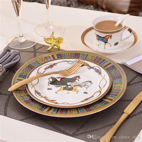 dinnerware european ceramic bone sets dinner china housewarming striped gifts funky glass larger 4pcs