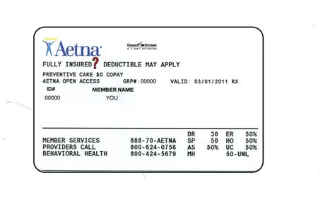Number (or policy number) on the insurance card indicates the coverage your plan provides. Services Provider: Aetna Provider Services