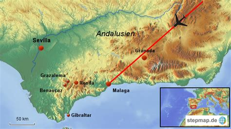 stepmap andalusien uebersicht landkarte fuer spanien
