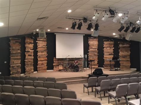leaning towers  pallets church stage design ideas
