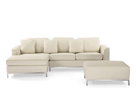 beliani sofa sofa beige leder ecksofa r sofalandschaft sofagarnitur ledersofa oslo