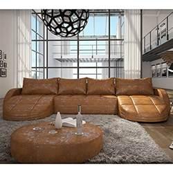 designer sofa kaufen wohnlandschaft 364x158x84 cm braun aus kunstleder in wildlederoptik mit led beleuchtung