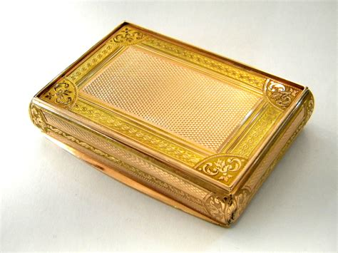 Antique Solid Gold Box Hanau Germany C. 1830 4 Colour Gold