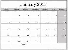 2018 Calendar Template printable calendar template