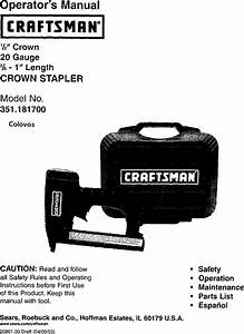 Craftsman 351181700 User Manual Stapler Manuals And Guides