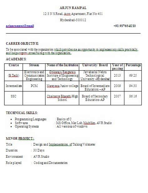 Resume Format For Electronics And Communication Engineering Students by Electronics And Communication Engineering Ece Fresher Year Sle Resume Formate