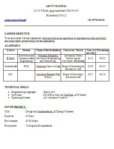 Diploma Ece Fresher Resume Sle by Electronics And Communication Engineering Ece Fresher