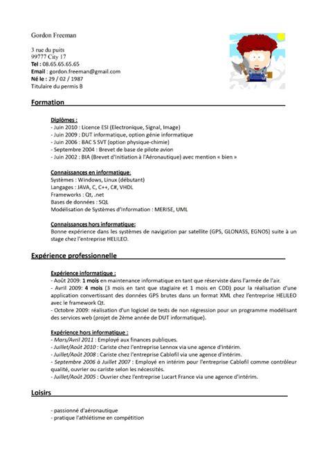 Exemple De Cv De Travail by Exemple Cv Pour Travailleur Handicape Cv Anonyme