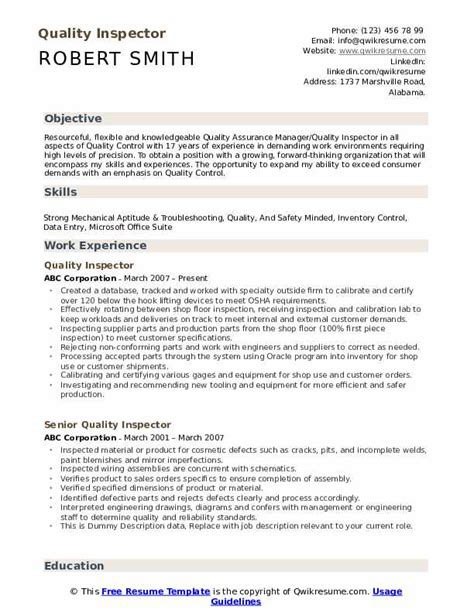 Professional quality assurance inspector resume examples & samples. Quality inspector resume pdf February 2021