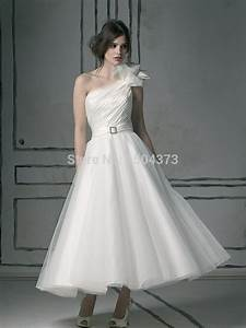 tea length wedding dresses one shoulder sleeveless zipper With medium length wedding dresses