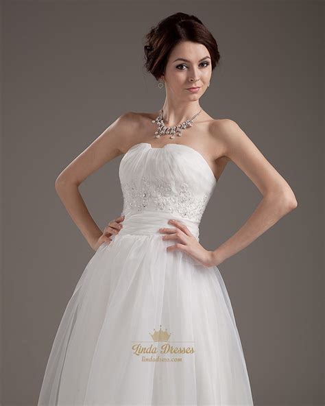 ankle wedding dress ivory strapless ankle length wedding dresses with lace