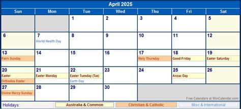 april  australia calendar  holidays  printing