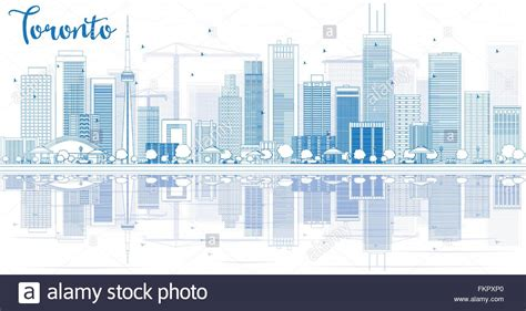 Outline Toronto Skyline With Blue Buildings And Best Business Cards Online India On A Budget Black Friday Sale Free Makeup Artist Vector Template Background Sites Concept