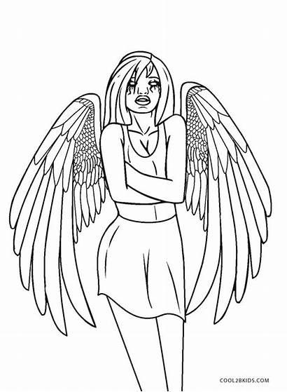 Angel Coloring Pages Dark Printable Cool2bkids