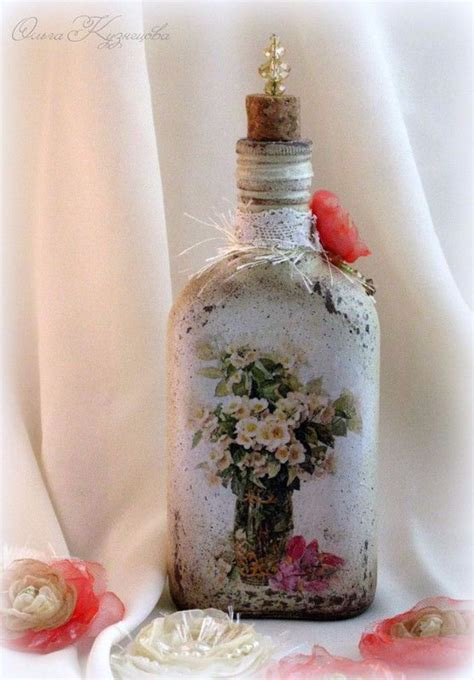 decorate glass bottles  decoupage diy recycle