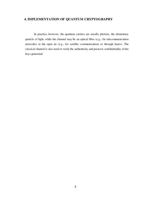 Quantum Cryptography - Seminar report
