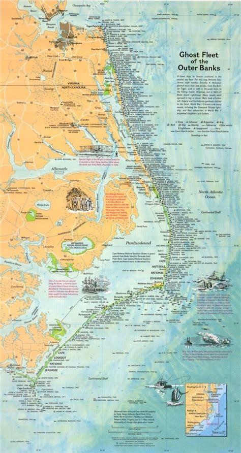 ghost fleet   outer banks map  shipwrecks