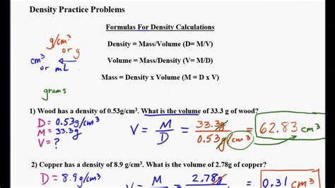 Density, Mass And Volume Problems Part 2 Youtube