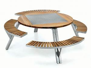 Table De Jardin Avec Banc : table ronde exterieur bois ~ Melissatoandfro.com Idées de Décoration