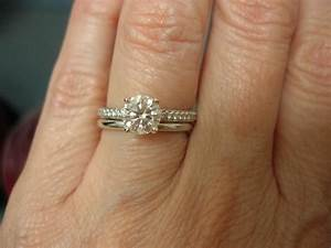 pave engagement ring with plain wedding band engagement With halo engagement ring with plain wedding band
