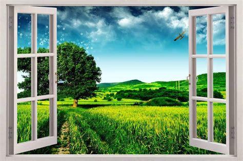 green meadow 3d window view decal wall sticker decor art