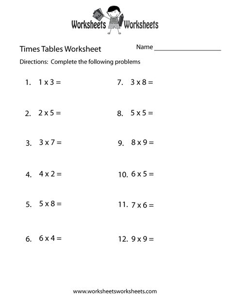 times tables test worksheet  printable educational