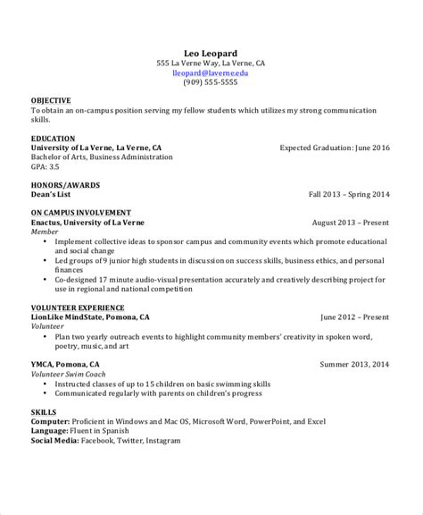 resume objective for undergraduate student 100 images