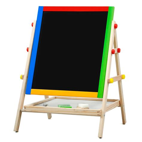 adjustable children kids    black white wooden easel