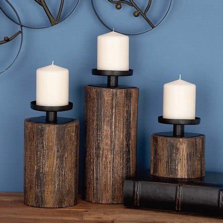 Wood And Glass Candle Holders by Decmode Wood And Glass And Metal Candle Holder Set Of 3