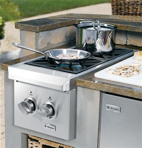 zgunpss monogram dual burner outdoor cooktop natural gas monogram appliances