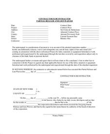 Subcontractor Resume Sle by Lien Waiver Form Template 28 Images 6 Lien Waiver