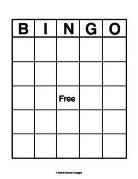 blank bingo sheet    designs teachers pay teachers