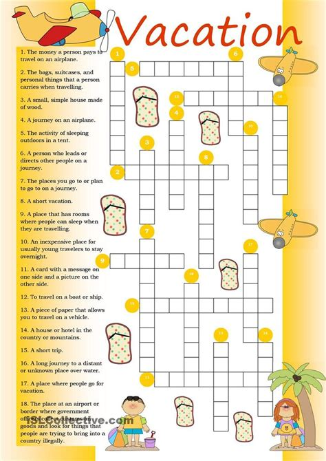 Crossword Vacation  Teaching English  Pinterest  Worksheets, Activities And Classroom Resources