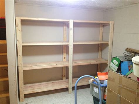 Garage Shelving Projects by 2 X 4 Garage Shelves Built Into Basement Storage Do It
