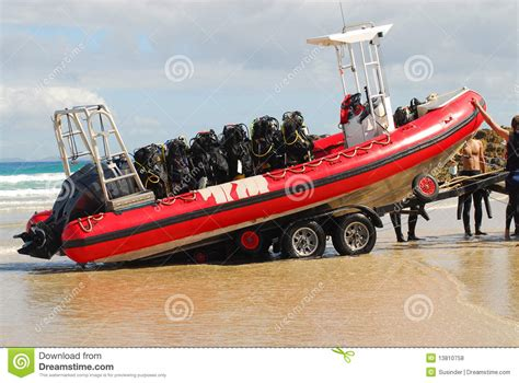 Boat Gear by Boat On Trailer And Scuba Gear Royalty Free Stock Photos