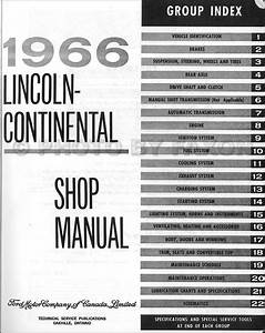1966 Lincoln Continental Repair Shop Manual Original Canadian