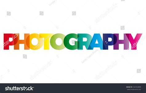 Word Photography Vector Banner Text Colored Stock Vector