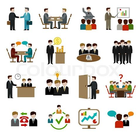 meeting icons set  business teamwork corporate