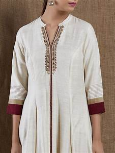 Buy Off White Embroidered Cotton Silk Kurta Ron009